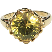 Vintage Large Canary Yellow Spinel & 10k Yellow Gold Cocktail Ring Sz 6