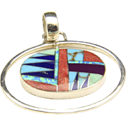 Vintage Zuni Inlay Modernist Necklace Pendant Sterling Turquoise Lapis Opal Sugilite Spiny ...