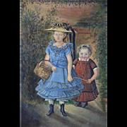 Antique 1870s Portrait Oil Painting Amreican Folk New England Northeast Art Girl