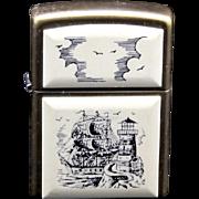 Vintage Brass Scrimshaw Zippo Lighter Ship Lighthouse Sea Ocean Nautical