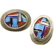 Vintage Zuni Multi Stone Inlay & Sterling Silver Earrings Signed SR Post Back
