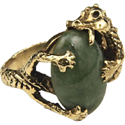 Vintage Dragon Ring Jade & 14k Yellow Gold Sz 6 Unique Fine Fantasy Jewelry