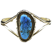 Vintage Navajo Sterling Silver Large Turquoise Cuff Bracelet Signed Southwestern