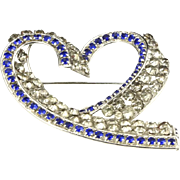 Vintage Vogue New York Rhinestone Large Heart Brooch Pin Signed Costume Jewelry