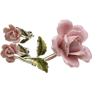 Vintage 1950s Signed Coro Porcelain Pink Rose Brooch & Earring Set Retro Jewelry