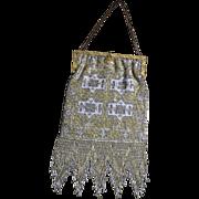 Vintage Antique Art Nouveau Deco Metal Beaded Evening Purse France Olette Lined