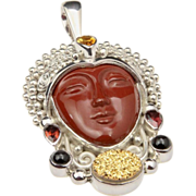Sajen Sterling Silver Red Jasper Carved Goddess Face Necklace Pendant Gemstones Druzy Quartz .