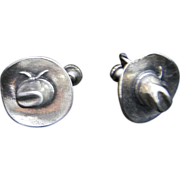 Vintage Sterling Silver Western Cowboy Hat Screw Back Earrings Retro 1960s Jewelry Signed