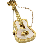 Vintage Mandolin Series Guitar Music Brooch Pin by Robert Mandle Mother of Pearl