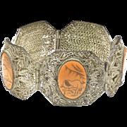 Vintage Silver Filigree & Horse Scrimshaw Panel Bracelet Chinese Export Jewelry