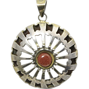 Vintage Sterling Silver Taxco Circle Pendant Necklace Modernist Goldstone Center