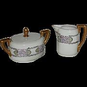 Rosenthal Selb Bavaria Isolde Hand Painted Artist Signed Porcelain Sugar Bowl & Creamer