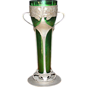 "Antique 14 ½""  Art Nouveau Pewter and Green Glass Vase, 1890 - 1910"