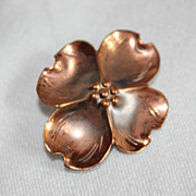 SALE Stuart Nye Vintage Copper Dogwood Pin