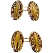 Victorian 14k Repousse Two Sided Cufflinks