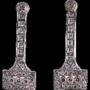 Art Deco Platinum and Diamond Filigree Pierced Earrings