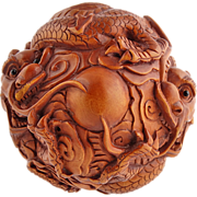 SALE Japanese Meiji Carved Boxwood Dragon Ball