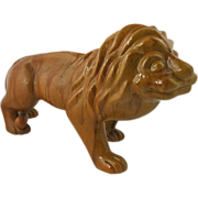 Antique Continental Redware Pottery Lion