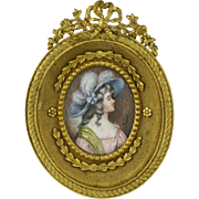 French Signed Miniature Portrait in Gilt Bronze Frame