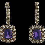 SALE Edwardian 14K Yellow Gold Amethyst and Diamond Pierced Earrings
