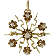 Victorian 14K Gold and Diamond Starburst Pin Pendant