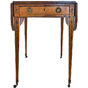 English George III Painted Satinwood Pembroke Table