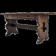 SALE Italian Walnut Baroque Style Trestle Table