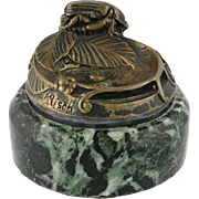 H. Risch Bronze Paperweight With Beetle On Marble