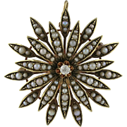 Victorian 14K Gold Cultured Seed Pearl Diamond Starburst Pin Pendant