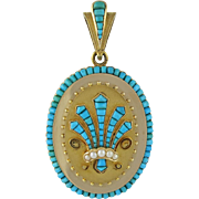 An Exquisite Large Victorian 14K Gold And Turquoise Etruscan Revival Locket