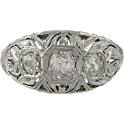 Edwardian Platinum & Diamond Filigree Ring