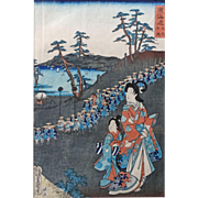 """Toyokuni III Japanese Wood Block Print """"Procession Of Lord And Court Ladies At Ohiso"""""""