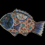 Japanese Imari Porcelain Fish Form Plate Meiji Period
