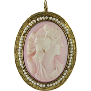 Victorian 14K Gold Coral Cameo Pin Pendant with Cultured Seed Pearls