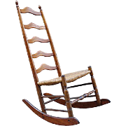 18th Century American Ladder Back Rocking Chair
