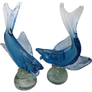 Pair Alfredo Barbini Murano Glass Fish