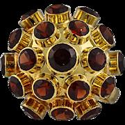 18K Gold H. Stern Style Garnet Sputnik Ring c. 1955