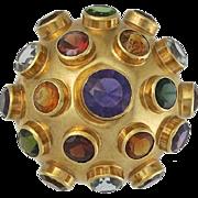 SALE Large Vintage H. Stern Sputnik 18K Gold Gemstone Brooch