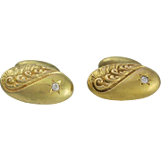 Victorian 14K Gold & Diamond Repousse Bean Back Cufflinks