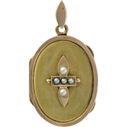 Victorian 14K Rose & Yellow Gold Cultured Seed Pearl Picture Locket