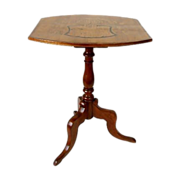 Early 19th C German Walnut Candlestand With Inlay