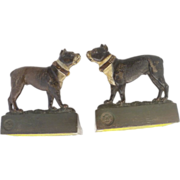 SOLD Vintage American Bradley and Hubbard bulldog Enameled & Cast Iron Bookends