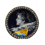 Antique French Portrait Brooch Iridescent Enamel Silver Seed pearl  Young Prince  One of a kin