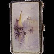 Austrian Enamel Silver Scenic Cigarette Case Boats