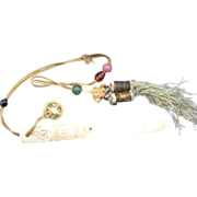 Antique Chinese scrimshaw Cow Bone Page Turner Coin Peking Glass Beads Gold thread Knots