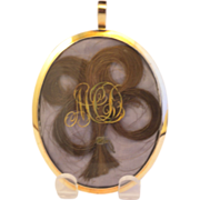 Large Georgian Gold Mourning Double Sided Locket/Pendant Shamrock