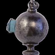 Georgian Cut Steel Figural Globe Tape Measure Free Standing & for Chatelaine