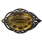 Large Faceted early 1900's Citrine Brooch Makers Mark GBM  30 Carats  Appraisal