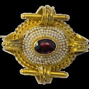 Georgian Garnet Seed Pearl Pinchbeck Pendant/Brooch   Very fine