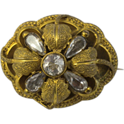 Antique 14kt Gold Mourning Brooch 3 Dimensional Flower Design  Rock Crystal Natural Stones